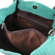 leren damestas tl keyluck 73 turquoise binnenkant
