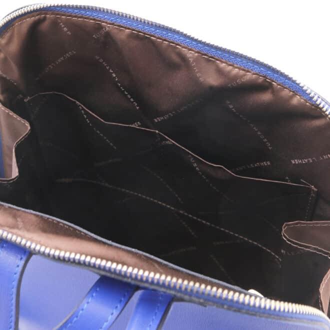 leren rugtas tl bag 31 blauw binnenkant