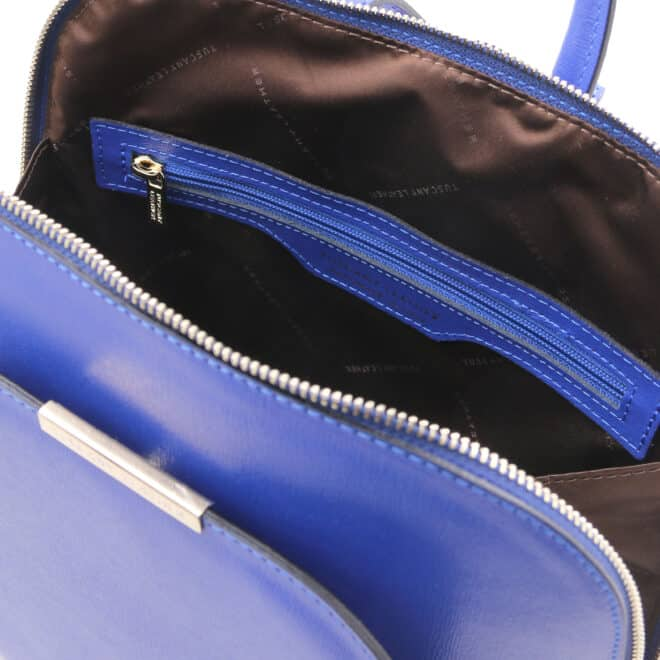 leren rugtas tl bag 31 blauw binnenvak met rits
