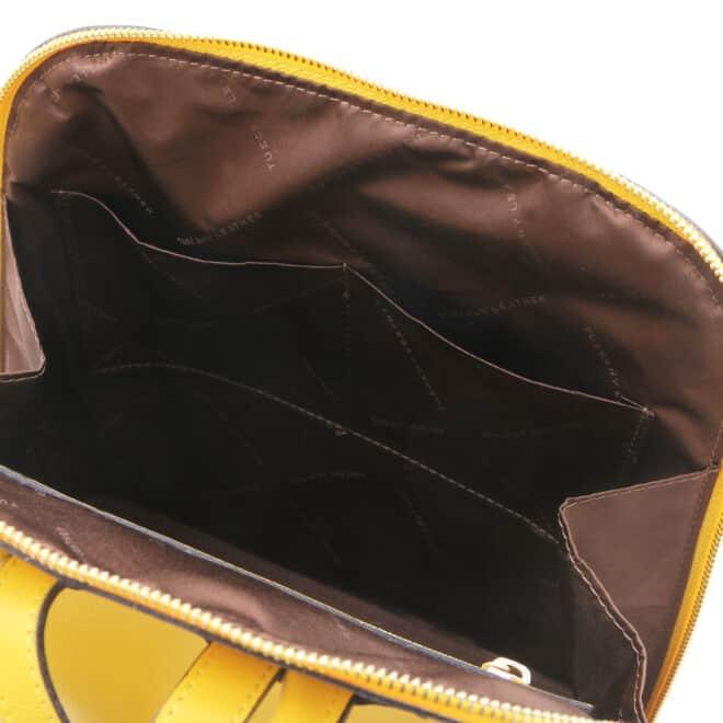 leren rugtas tl bag 31 geel binnenkant