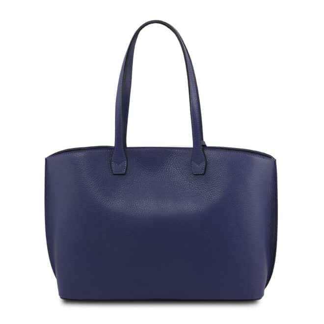 leren damestas tl bag 28 blauw achterkant