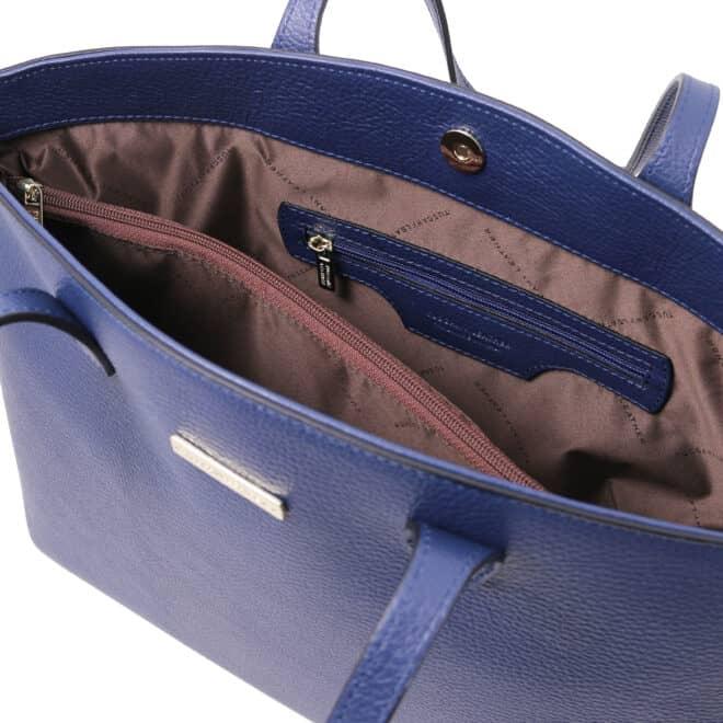 leren damestas tl bag 28 blauw binnenvak met rits