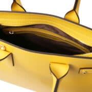 leren dames handtas Catherine geel binnenvak met rits