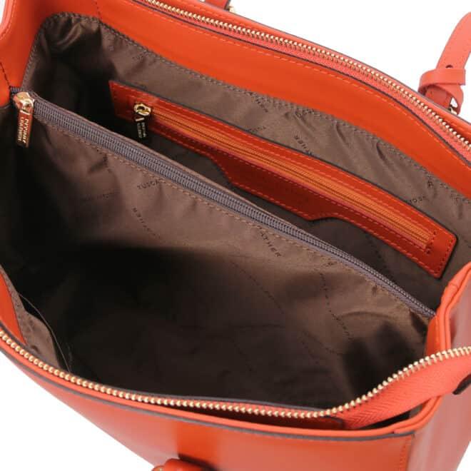 leren schoudertas tl bag 37 brandy binnenkant