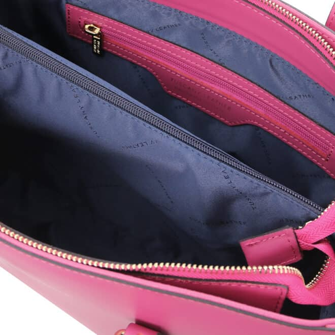leren schoudertas tl bag 37 fuchsia binnenkant