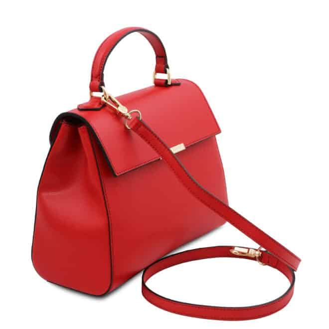 leren damestas tl bag 51 rood zijkant