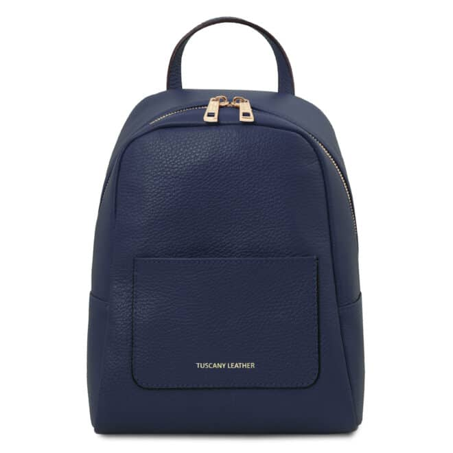 leren rugzak tl bag 52 donkerblauw voorkant