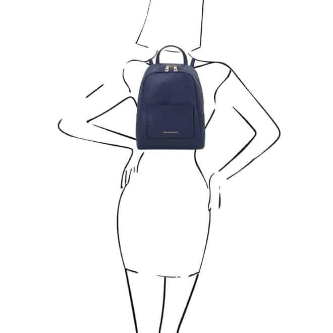 leren rugzak tl bag 52 donkerblauw op de rug