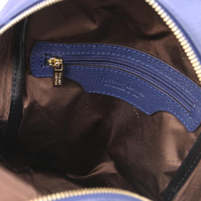 leren rugzak tl bag 52 donkerblauw binnenkant