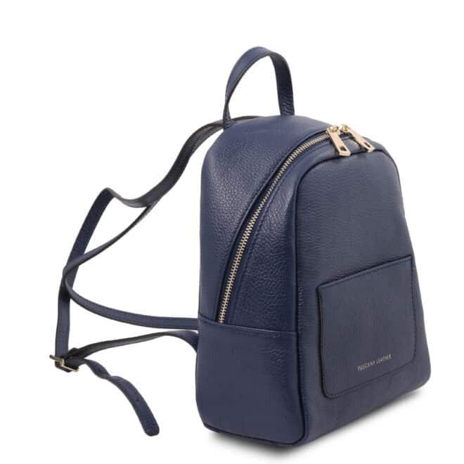 leren rugzak tl bag 52 donkerblauw zijkant