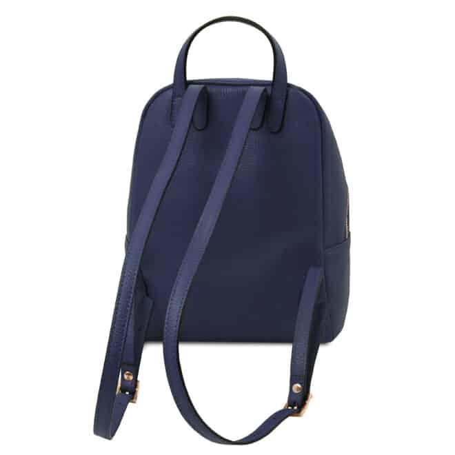 leren rugzak tl bag 52 donkerblauw achterkant
