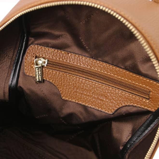 leren rugzak tl bag 52 cognac binnenkant