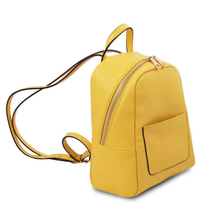 leren rugzak tl bag 52 geel zijkant