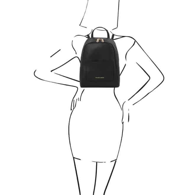 leren rugzak tl bag 52 zwart op de rug