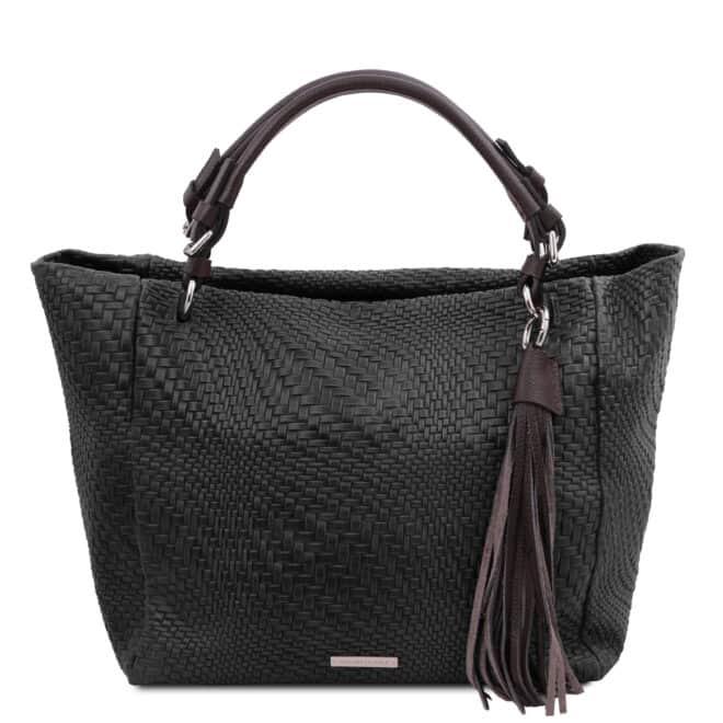 leren damestas TL bag 66 zwart voorkant
