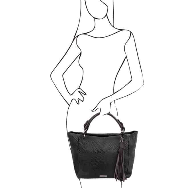 leren damestas TL bag 66 zwart handtas