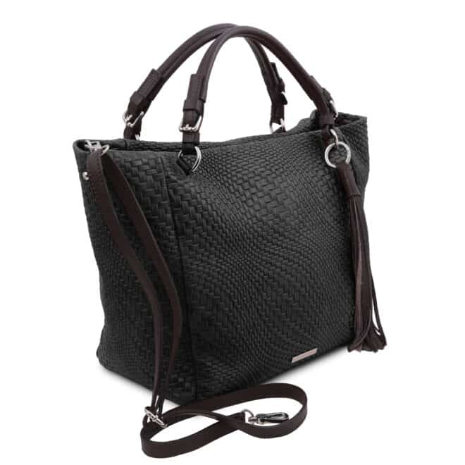 leren damestas TL bag 66 zwart zijkant