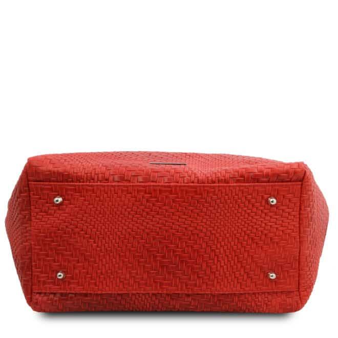 leren damestas TL bag 66 rood onderkant