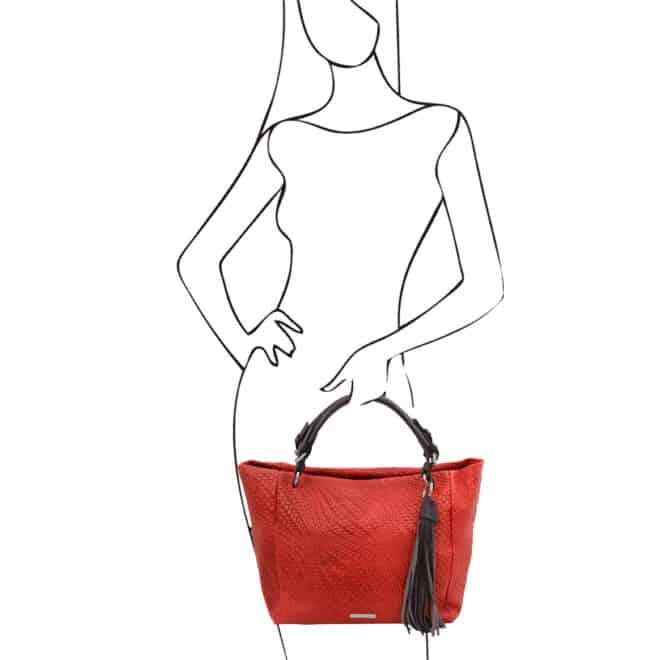 leren damestas TL bag 66 rood handtas