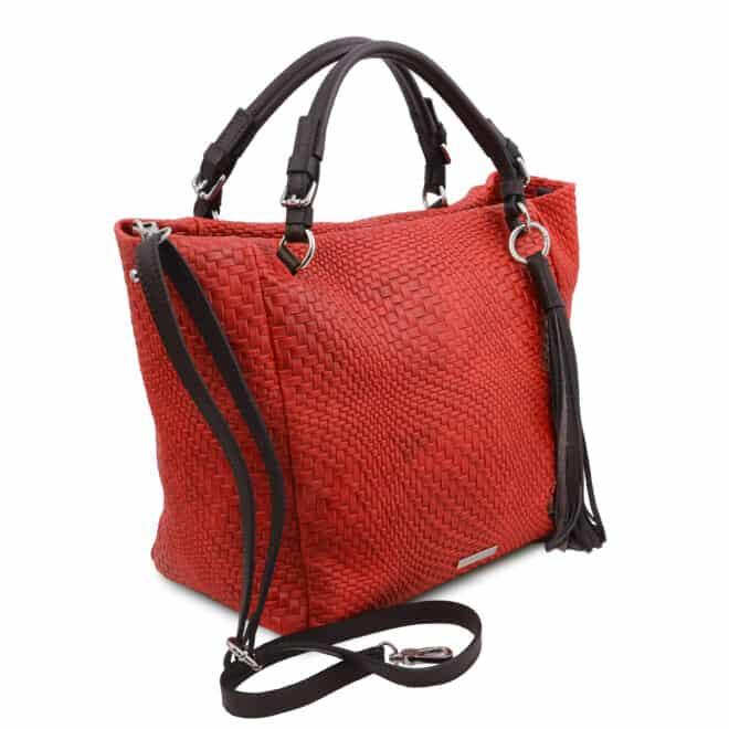 leren damestas TL bag 66 rood zijkant