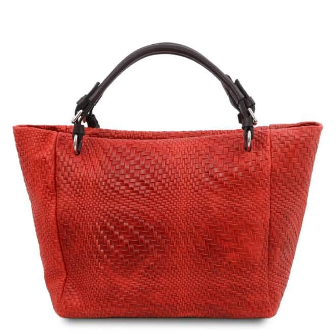 leren damestas TL bag 66 rood achterkant