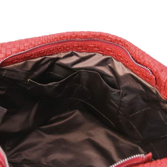 leren damestas TL bag 66 rood open vakken
