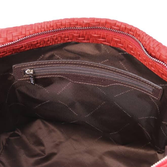 leren damestas TL bag 66 rood vak met rits