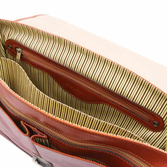 leren laptoptas Mantova cognac binnenvak met rits