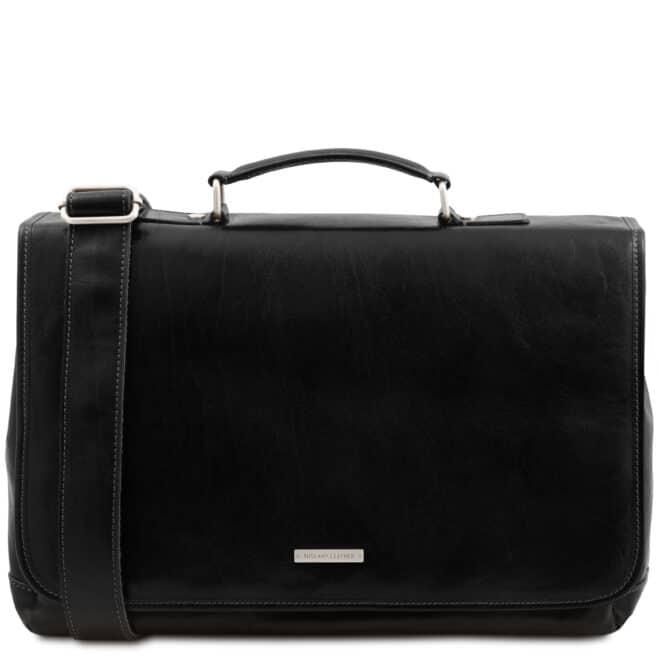 leren laptoptas Mantova zwart voorkant