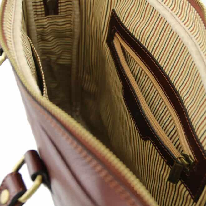 leren laptoptas Prato I bruin vak met rits binnenkant
