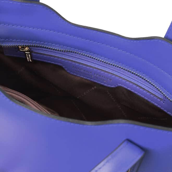 leren damestas Olimpia blauw binnenkant vak met rits