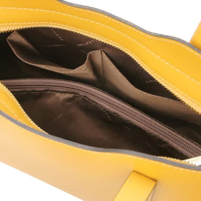 leren damestas Olimpia geel binnenkant open vakken