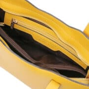 leren damestas Olimpia geel binnenkant vak met rits