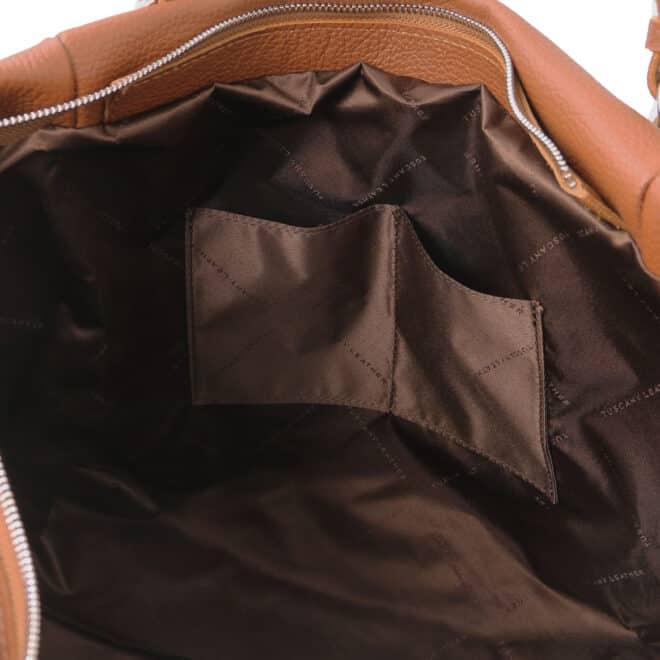 leren damestas tl bag 48 cognac binnenkant open vakken