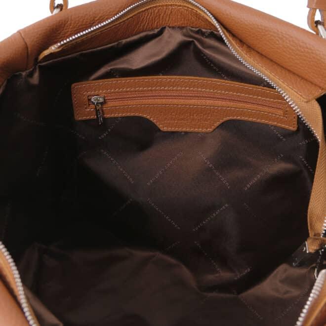 leren damestas tl bag 48 cognac binnenkant vak met rits