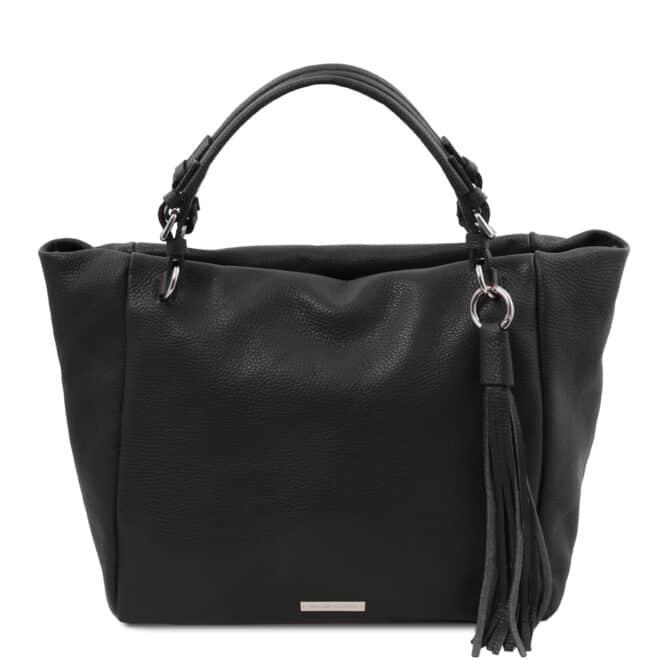 leren damestas tl bag 48 zwart voorkant