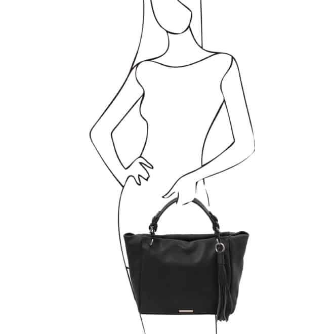 leren damestas tl bag 48 zwart handtas