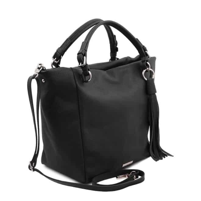 leren damestas tl bag 48 zwart zijkant