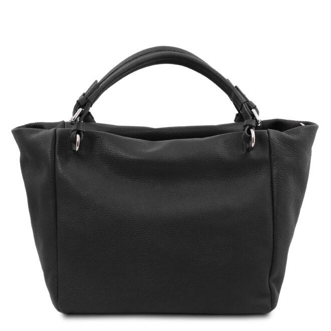 leren damestas tl bag 48 zwart achterkant