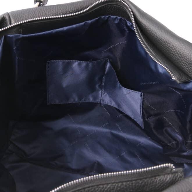 leren damestas tl bag 48 zwart binnenkant open vakken