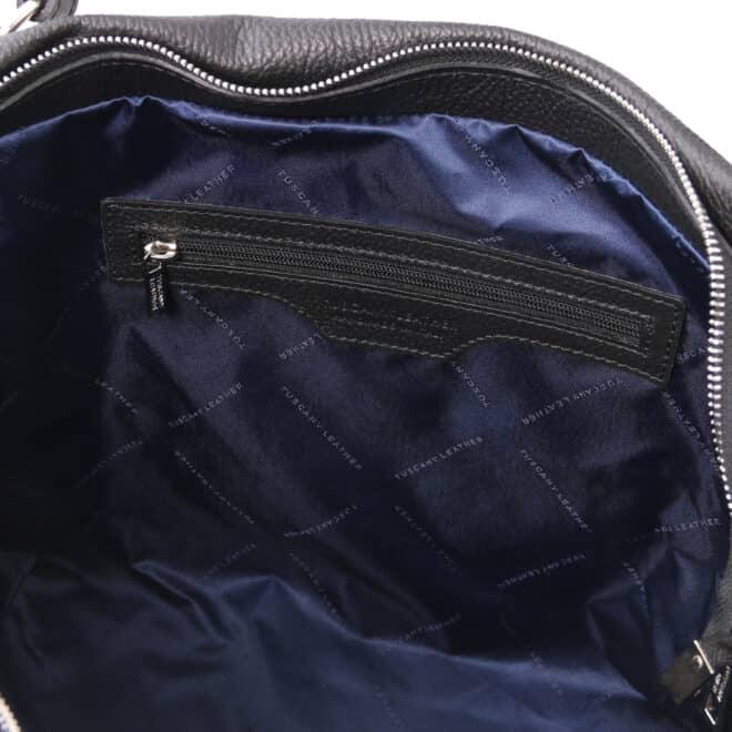 leren damestas tl bag 48 zwart binnenkant vak met rits