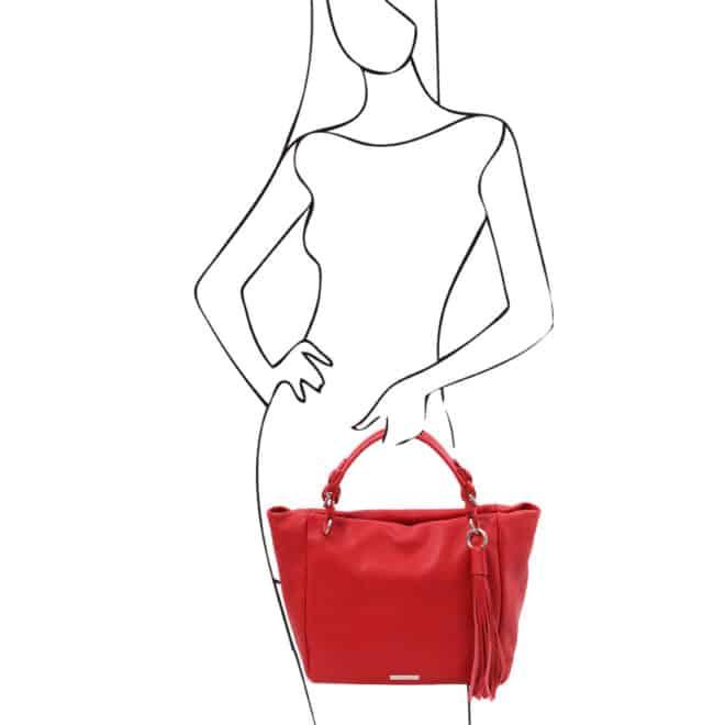 leren damestas tl bag 48 rood handtas