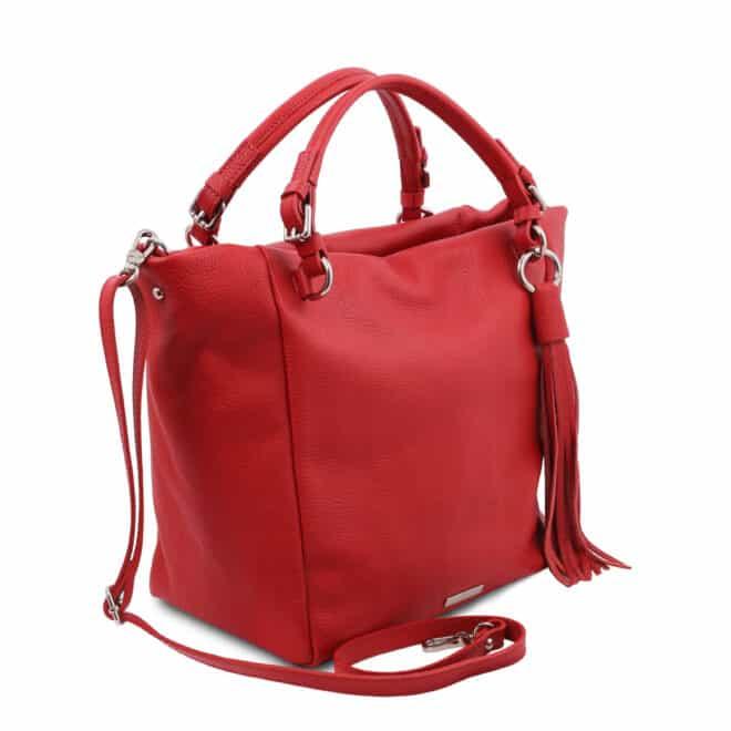 leren damestas tl bag 48 rood zijkant