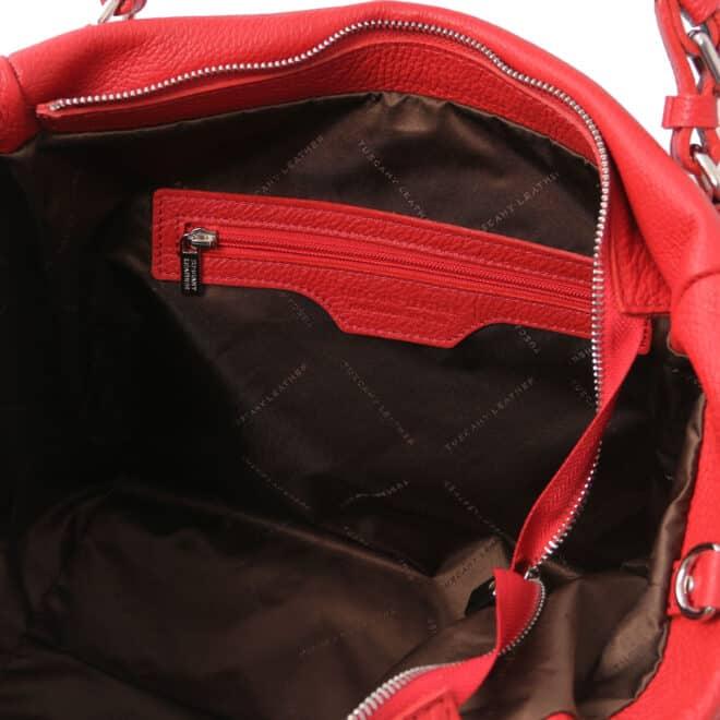 leren damestas tl bag 48 rood binnenkant vak met rits