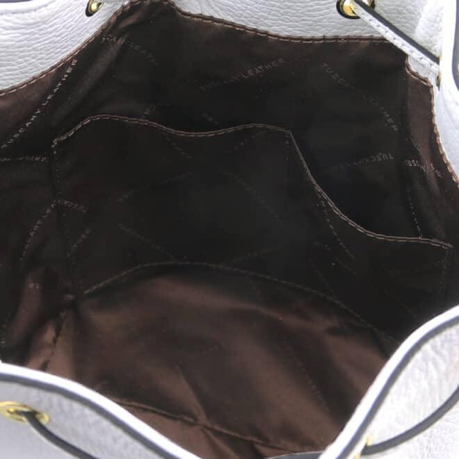 leren damestas TL bag 83 wit binnenkant open vakken