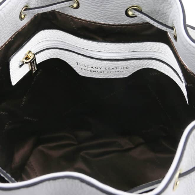 leren damestas TL bag 83 wit binnenkant vak met rits