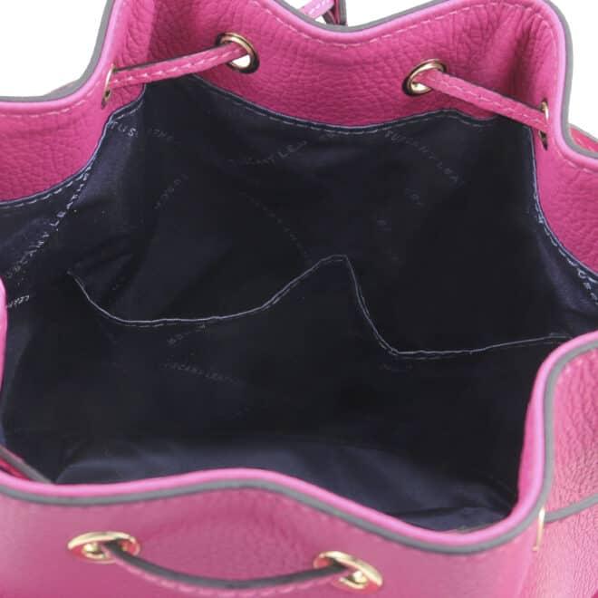 leren damestas TL bag 83 fuchsia binnenkant open vakken