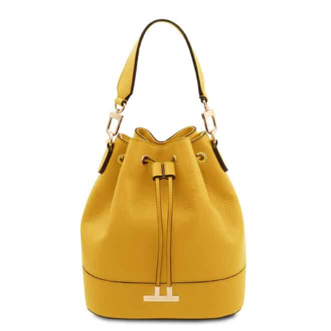 leren damestas TL bag 83 geel voorkant