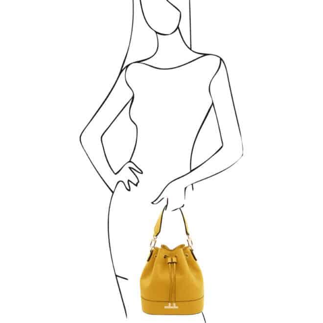 leren damestas TL bag 83 geel handtas