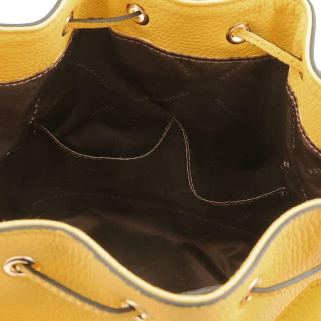 leren damestas TL bag 83 geel binnenkant open vakken